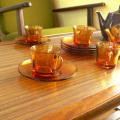 tw0157DURALEXアンバーガラスコーヒーカップ
