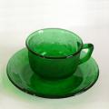 フランスarcorocグリーンガラスカップ&ソーサー