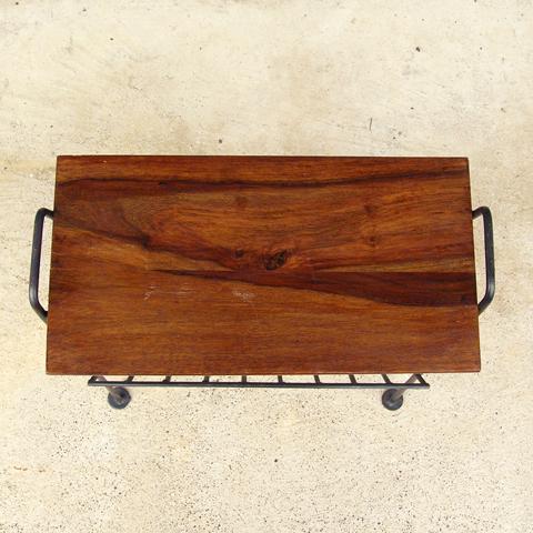 テーブル付きマガジンラック 木