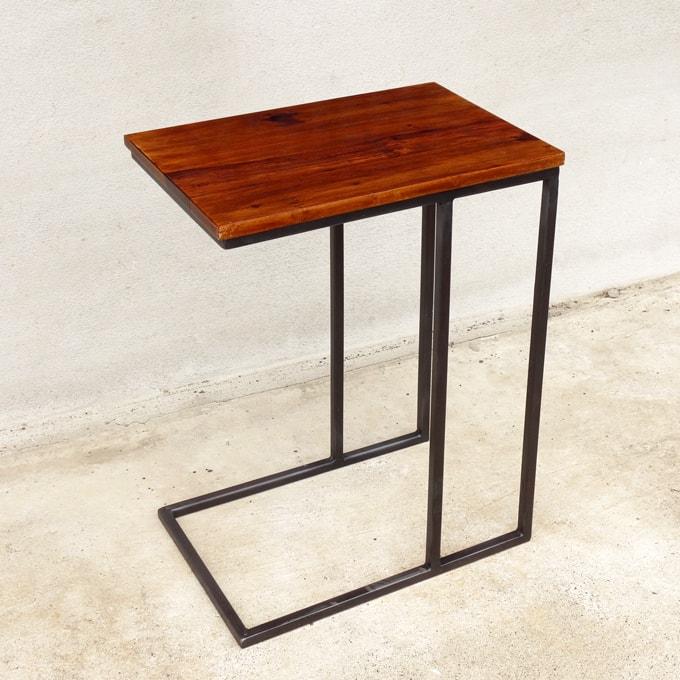 ソファテーブル鉄脚木製