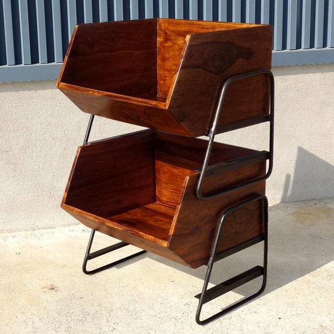 スタッキング可能の木箱ラック