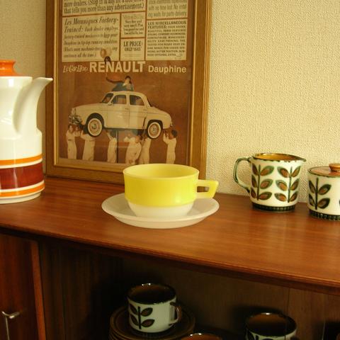 フランス製ヴィンテージ黄色いスープカップ