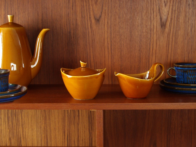 ヴィンテージ陶器シュガーポット&ミルクピッチャー 50年代