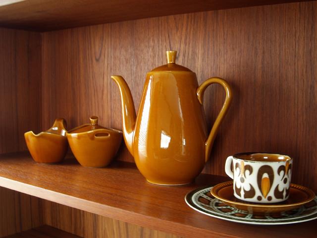 アンティーク陶器ポット ブラウン