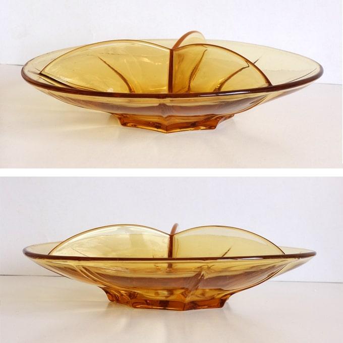 ヴィンテージのガラス仕切り皿 アンバー