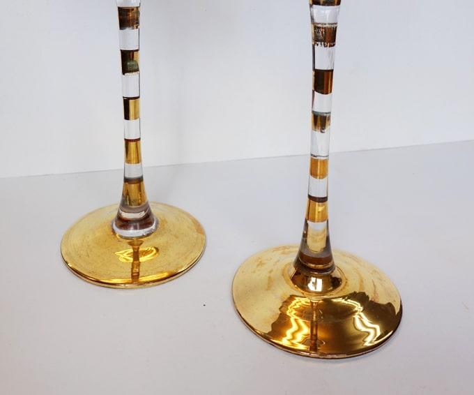 ゴールドのボーダー柄ステム ワイングラス