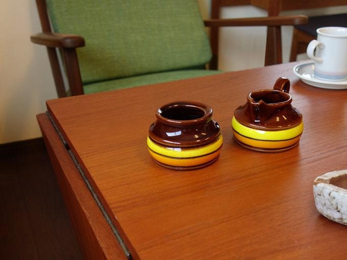 レトロなヴィンテージ陶器シュガー&クリーマー