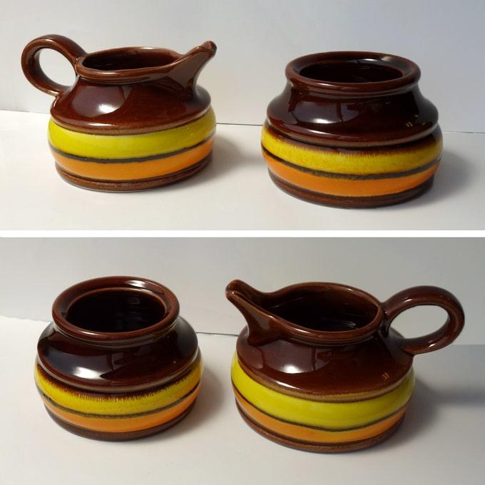 ヴィンテージ陶器シュガーポットとミルクピッチャー