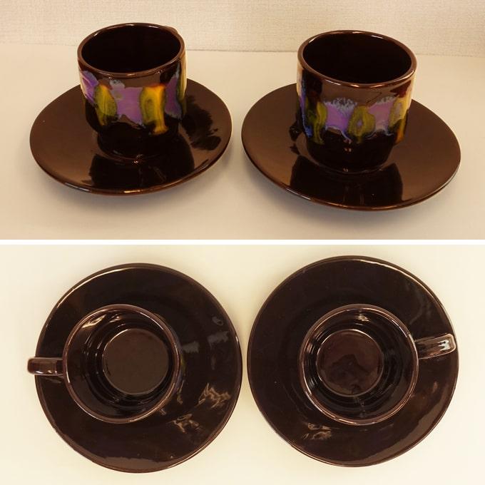 黒いカップ&ソーサー 紫と黄色柄