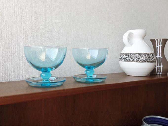 ヴィンテージ 水色のガラス器